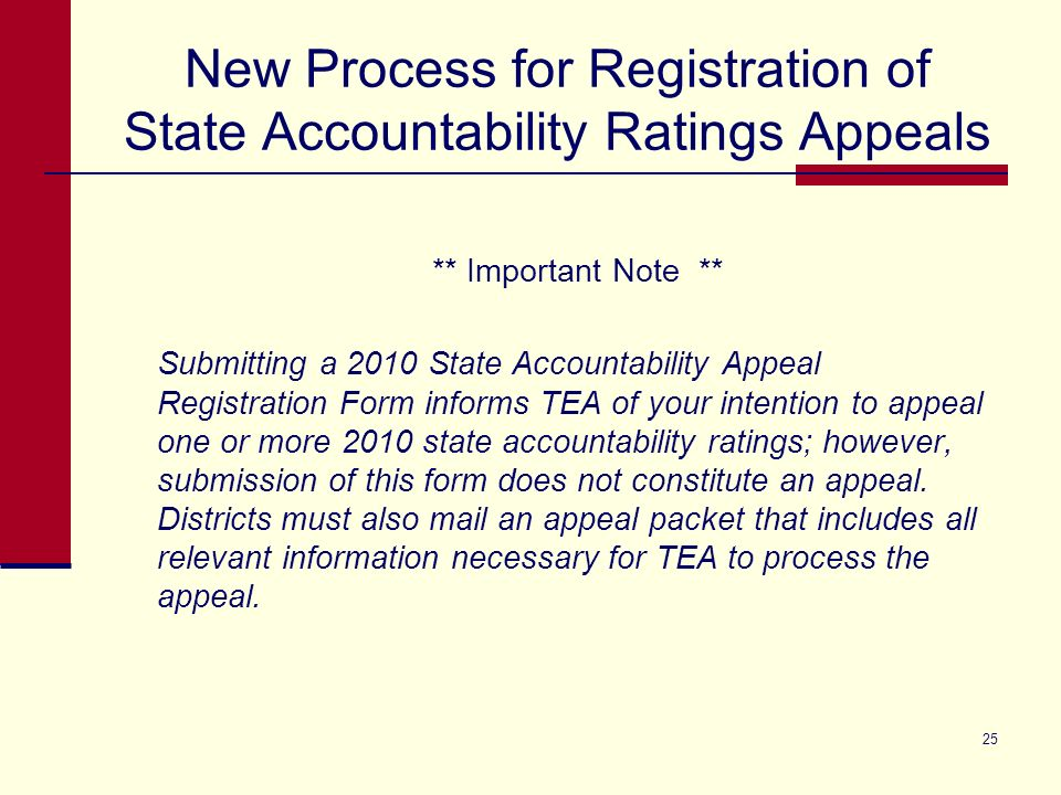 New Process for Registration of State Accountability Ratings Appeals There are three steps to the Appeal Registration process. Automated email notific