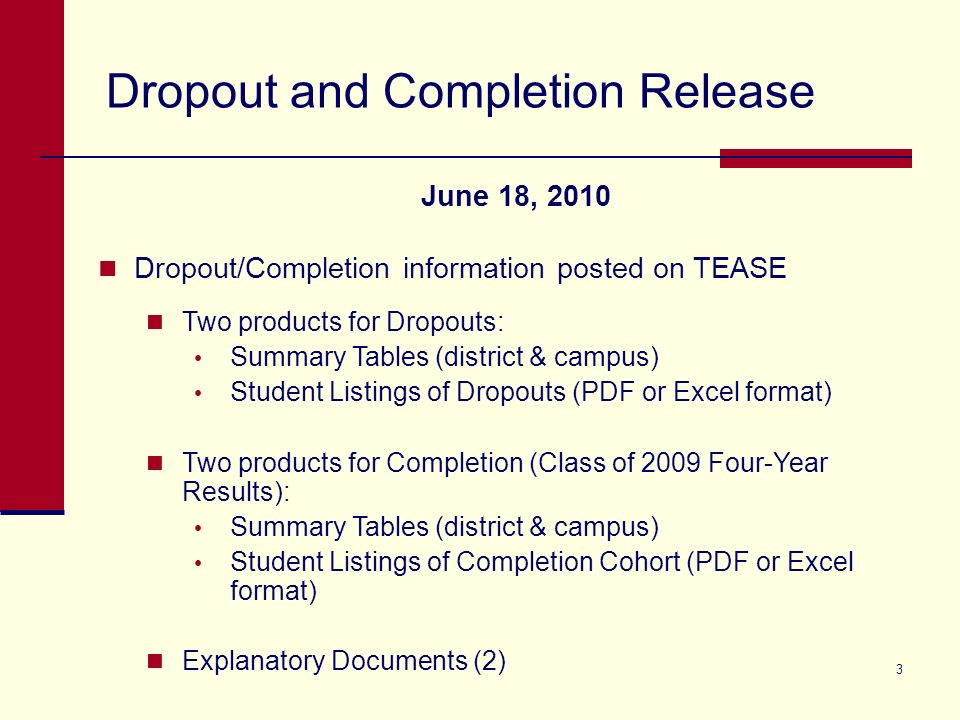 Completion/Dropout Release June 18