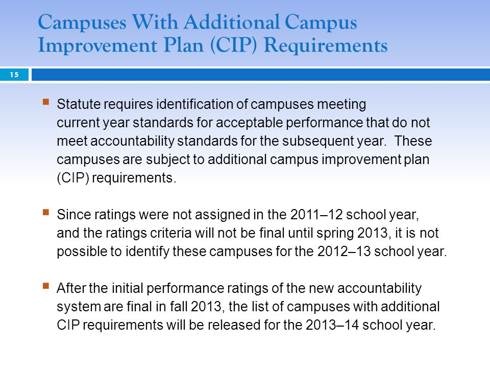 15 Statute requires identification of campuses meeting current year standards for acceptable performance that do not meet accountability standards for the subsequent year.