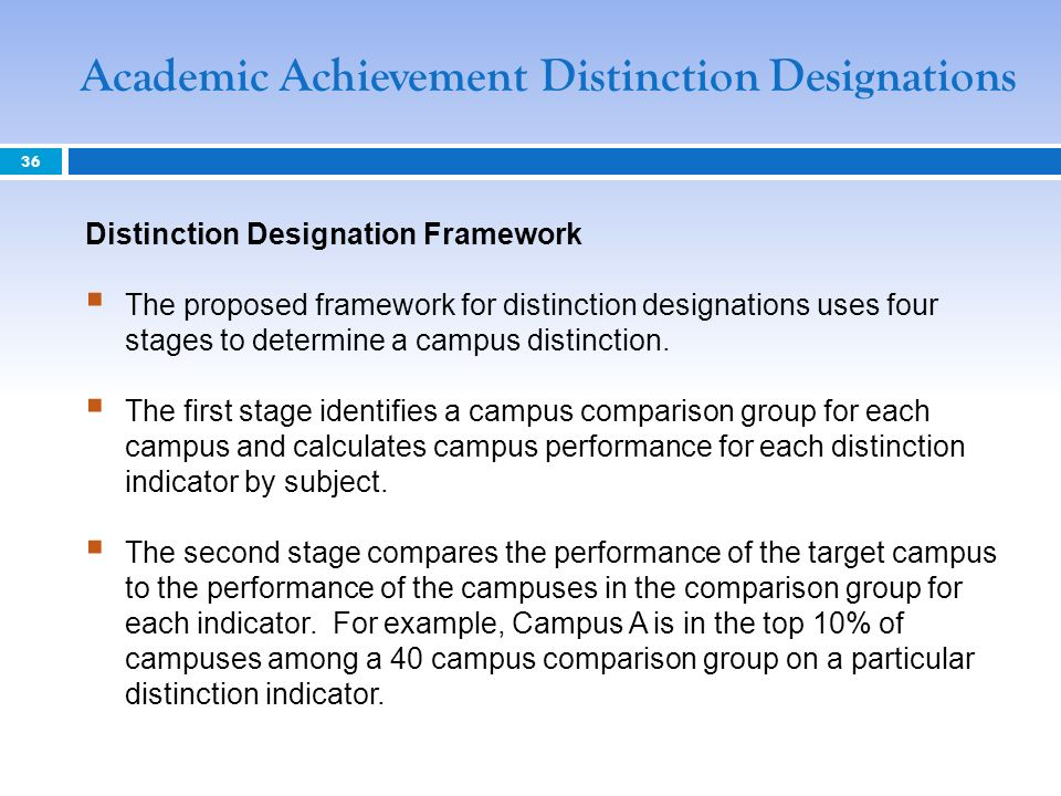 Distinction Designation Framework The proposed framework for distinction designations uses four stages to determine a campus distinction.