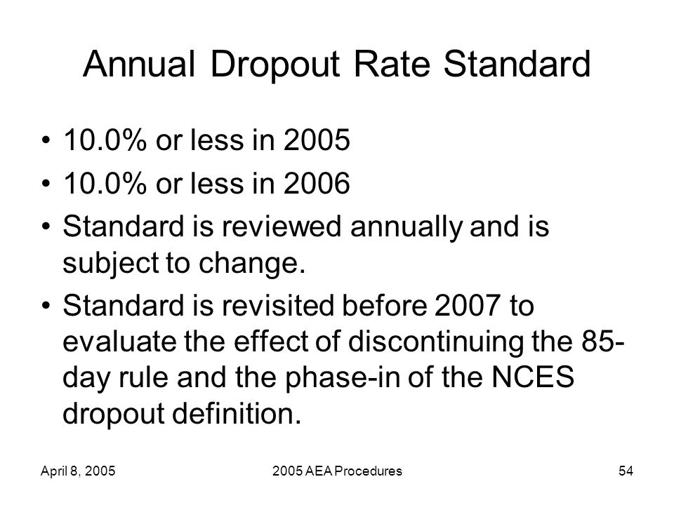 April 8, 20052005 AEA Procedures54 Annual Dropout Rate Standard 10.0% or less in 2005 10.0% or less in 2006 Standard is reviewed annually and is subject to change.