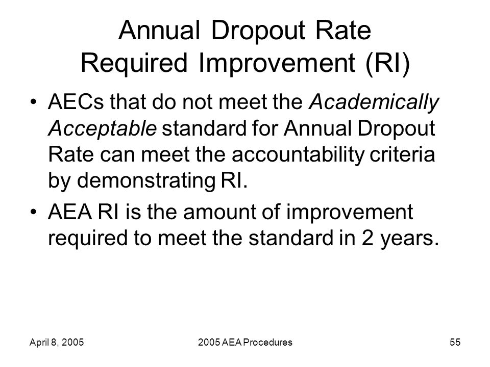 April 8, 20052005 AEA Procedures55 Annual Dropout Rate Required Improvement (RI) AECs that do not meet the Academically Acceptable standard for Annual Dropout Rate can meet the accountability criteria by demonstrating RI.