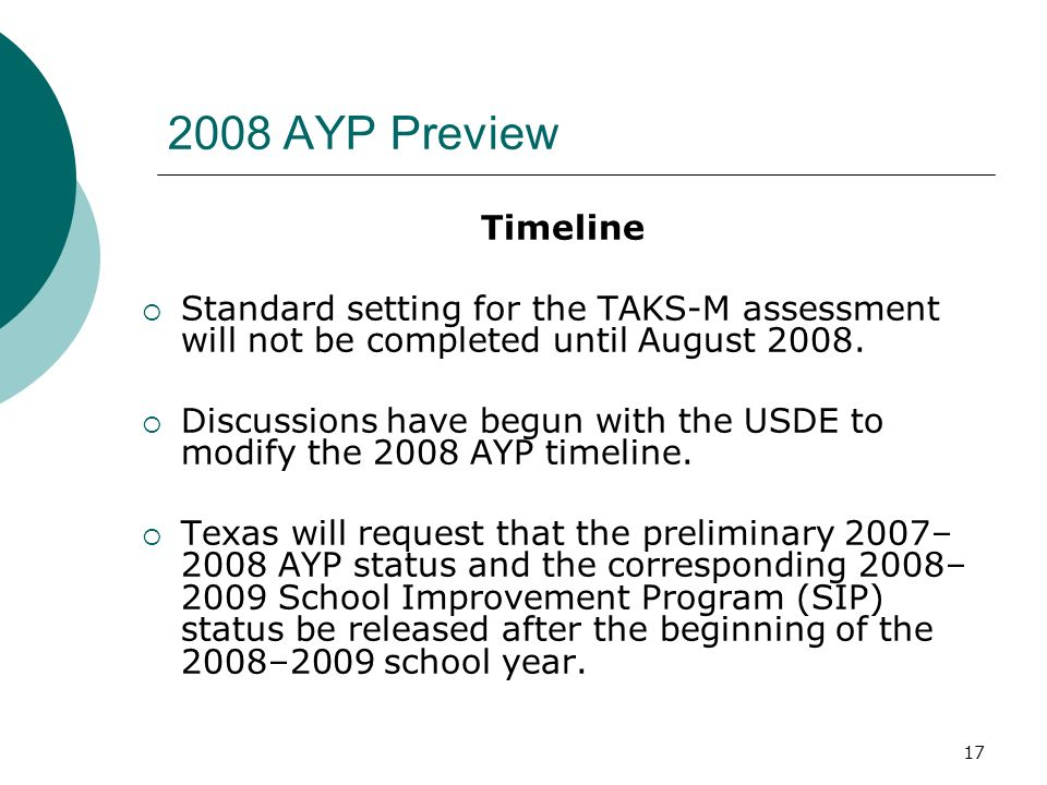 16 2008 AYP Preview Letter to School Districts will be issued this week on Assessments for Students Served by Special Education for the 2007–2008 School Year The 2008 Adequate Yearly Progress (AYP) Guide will include the details of the federal cap process and will be available on the Texas Education Agency website in late spring 2008.