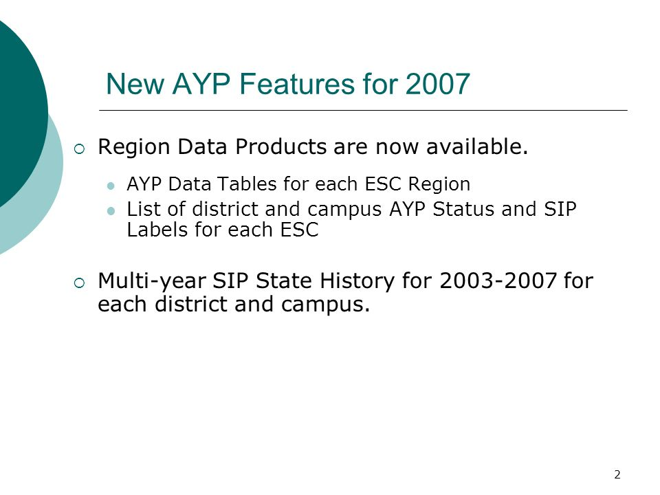 2 New AYP Features for 2007 Region Data Products are now available.