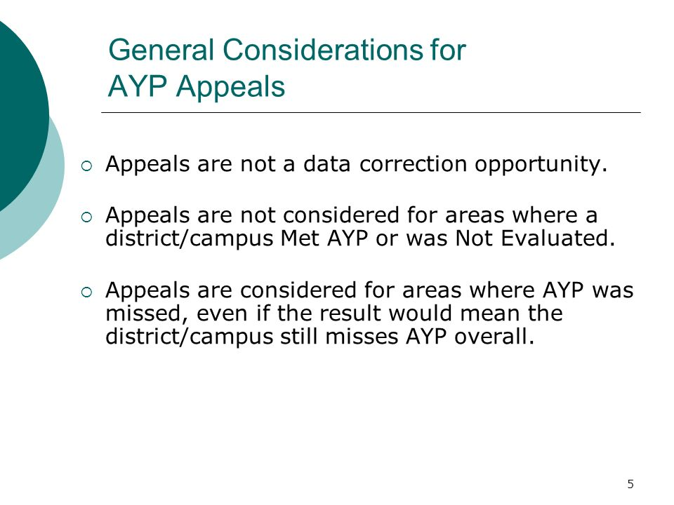 5 General Considerations for AYP Appeals Appeals are not a data correction opportunity.