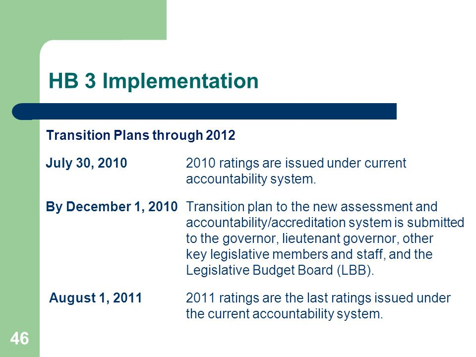 HB 3 Implementation 46 Transition Plans through 2012 July 30, 20102010 ratings are issued under current accountability system. By December 1, 2010Tran
