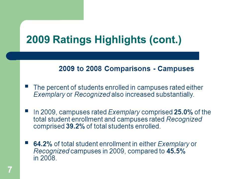 7 2009 Ratings Highlights (cont.) 2009 to 2008 Comparisons - Campuses The percent of students enrolled in campuses rated either Exemplary or Recognize