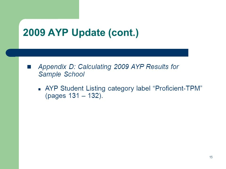 15 2009 AYP Update (cont.) Appendix D: Calculating 2009 AYP Results for Sample School AYP Student Listing category label Proficient-TPM (pages 131 – 132).
