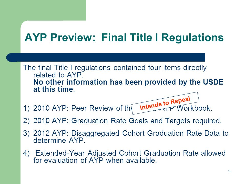 18 AYP Preview: Final Title I Regulations The final Title I regulations contained four items directly related to AYP.