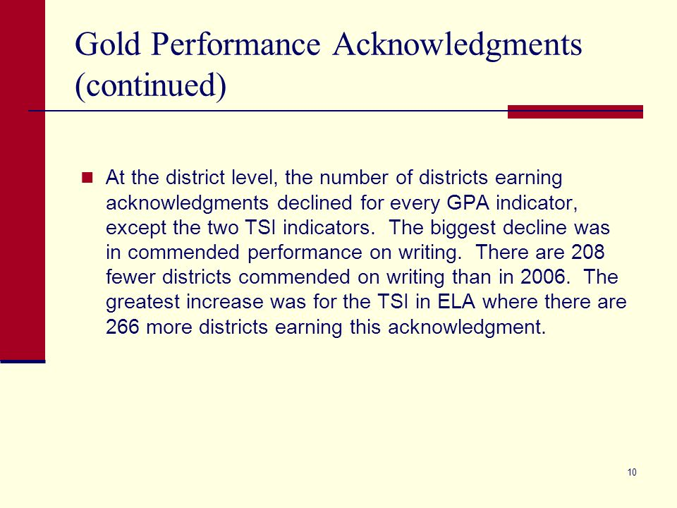 10 Gold Performance Acknowledgments (continued) At the district level, the number of districts earning acknowledgments declined for every GPA indicator, except the two TSI indicators.
