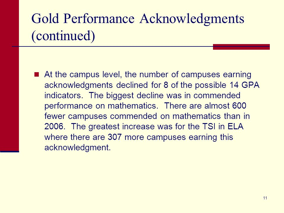 11 Gold Performance Acknowledgments (continued) At the campus level, the number of campuses earning acknowledgments declined for 8 of the possible 14 GPA indicators.