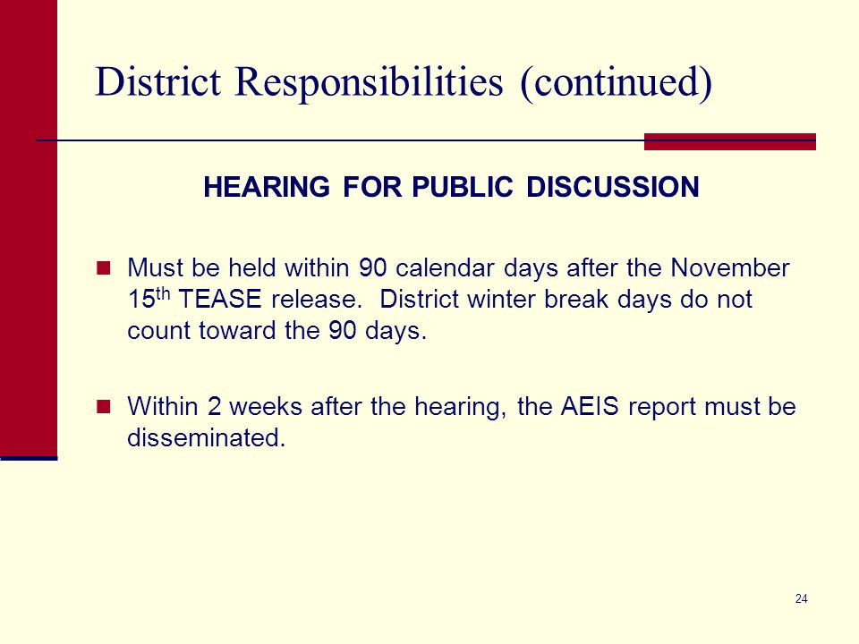 24 District Responsibilities (continued) HEARING FOR PUBLIC DISCUSSION Must be held within 90 calendar days after the November 15 th TEASE release. Di