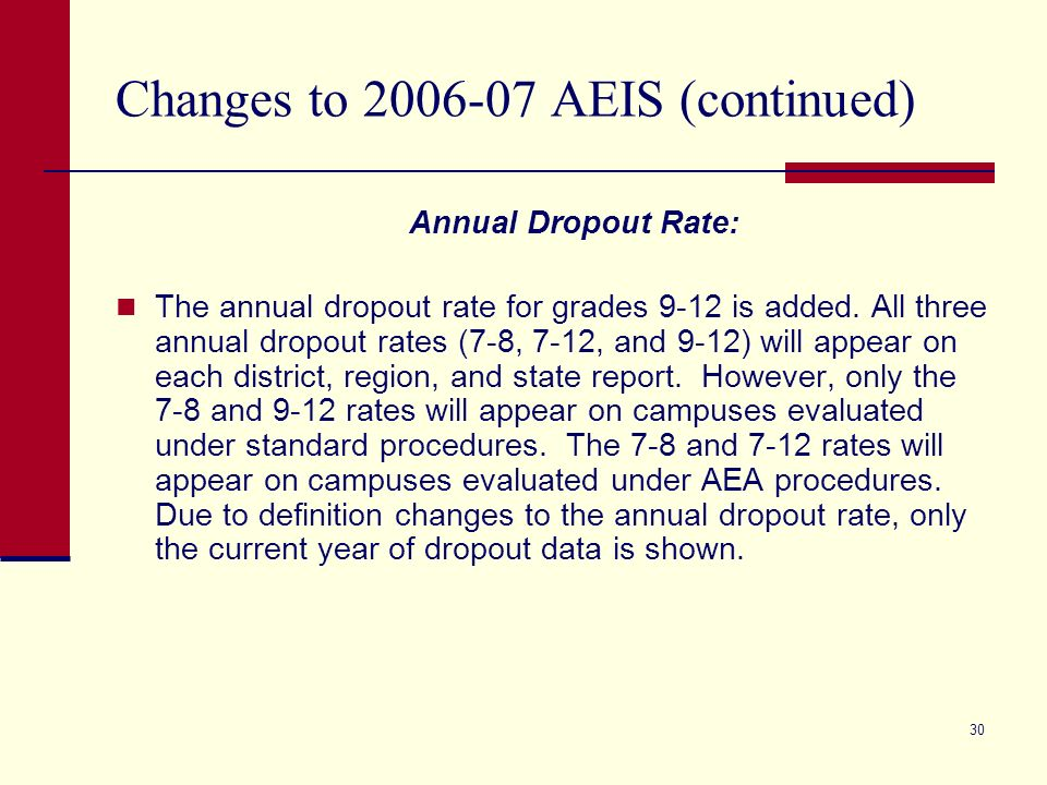 30 Changes to 2006-07 AEIS (continued) Annual Dropout Rate: The annual dropout rate for grades 9-12 is added. All three annual dropout rates (7-8, 7-1