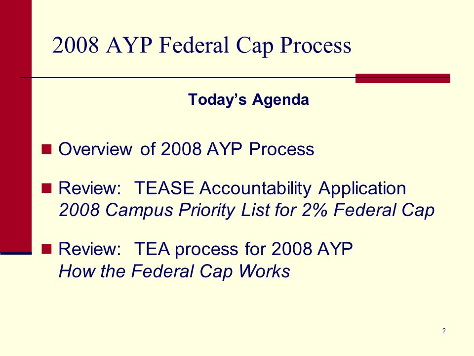2 2008 AYP Federal Cap Process Todays Agenda Overview of 2008 AYP Process Review: TEASE Accountability Application 2008 Campus Priority List for 2% Federal Cap Review: TEA process for 2008 AYP How the Federal Cap Works