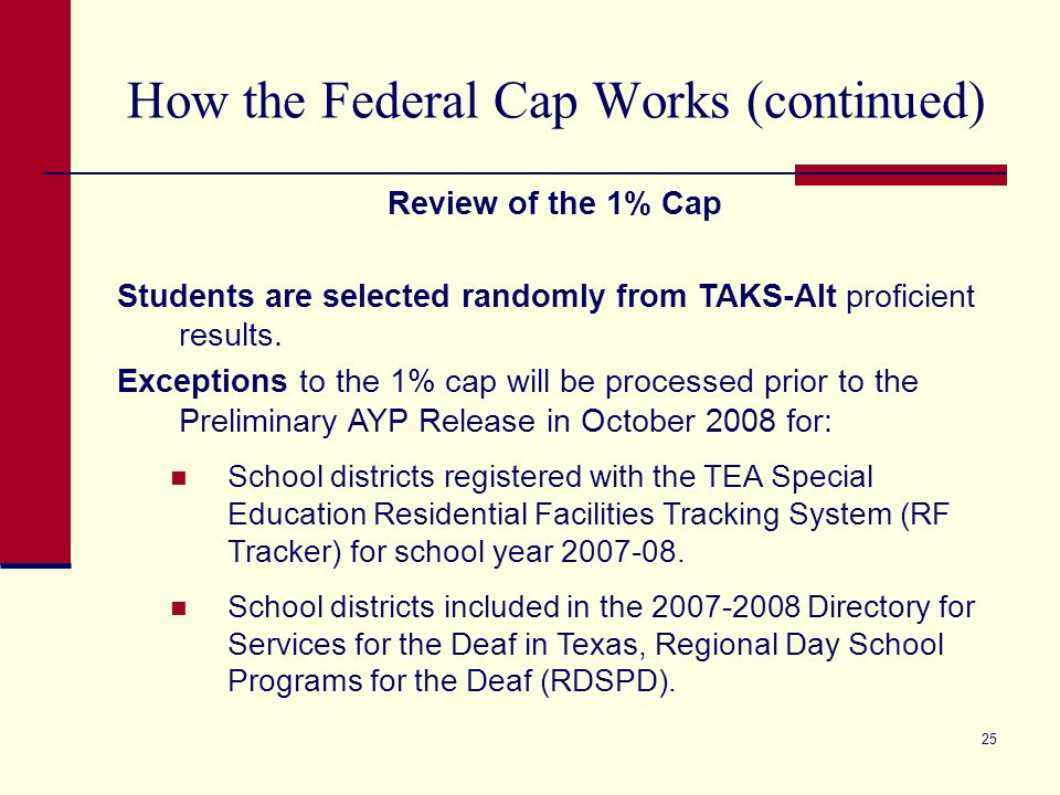 25 How the Federal Cap Works (continued) Review of the 1% Cap Students are selected randomly from TAKS-Alt proficient results.