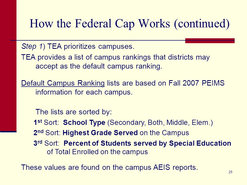 29 How the Federal Cap Works (continued) Step 1) TEA prioritizes campuses.