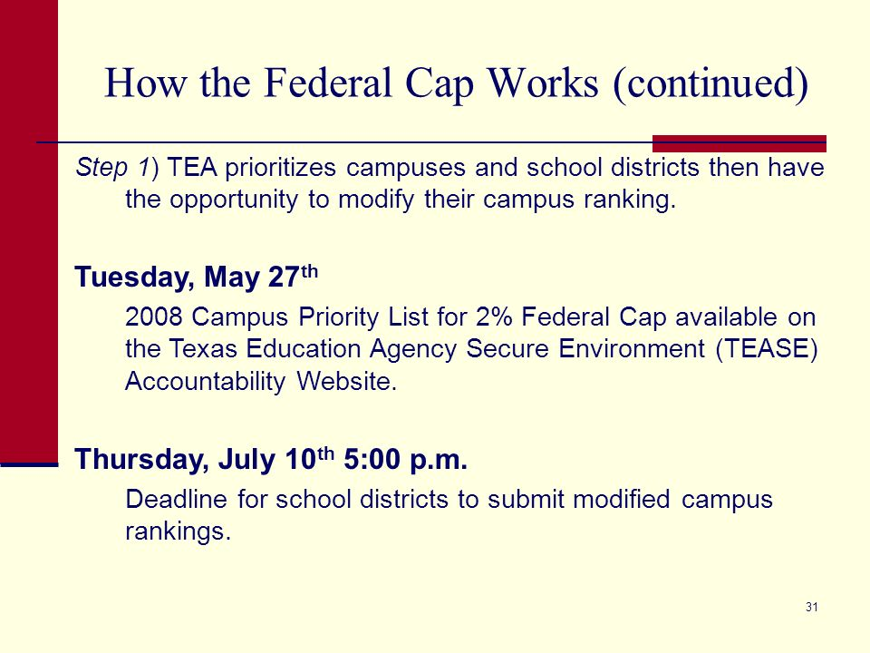 31 How the Federal Cap Works (continued) Step 1) TEA prioritizes campuses and school districts then have the opportunity to modify their campus ranking.