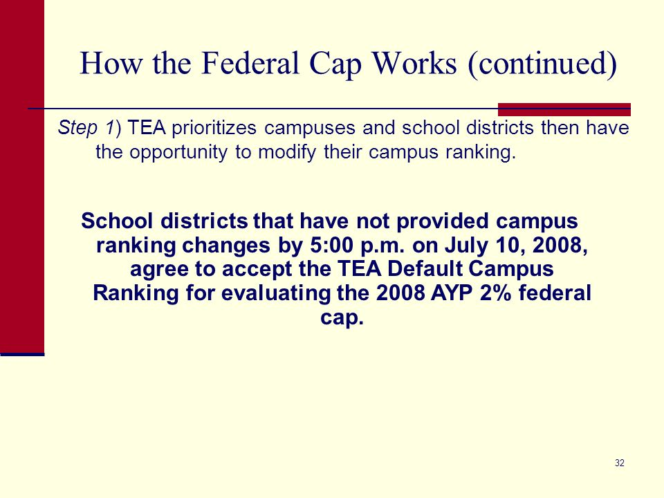 32 How the Federal Cap Works (continued) Step 1) TEA prioritizes campuses and school districts then have the opportunity to modify their campus ranking.