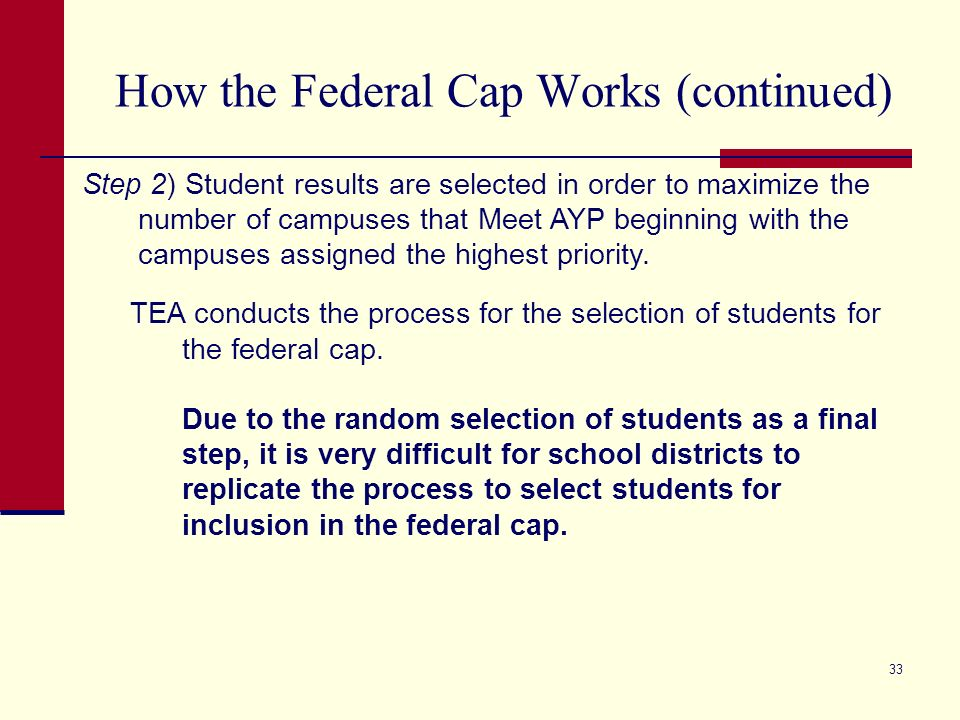 33 How the Federal Cap Works (continued) Step 2) Student results are selected in order to maximize the number of campuses that Meet AYP beginning with the campuses assigned the highest priority.