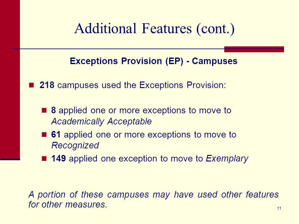 10 Additional Features (cont.) Exceptions Provision (EP) - Districts 6 districts applied the Exceptions Provision: 1 moved to Academically Acceptable 2 moved to Recognized 3 moved to Exemplary A portion of these districts may have used other features for other measures.