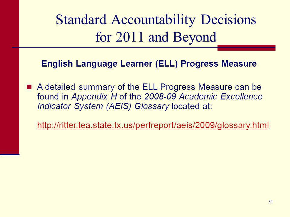 30 Standard Accountability Decisions for 2011 and Beyond 2011* Exemplary 2011* Recognized No Ratings in 2012 TAKS- Commended Performance (All Students group and if meets minimum size, Economically Disadvantaged) 25% in Reading/ELA & Mathematics for Commended or Commended Performance with TPM (TBD) 15% in Reading/ELA & Mathematics for Commended or Commended Performance with TPM (TBD) English Language Learners (ELL) Progress (If meets minimum size, All Students group only) 60% Standard or Meets Required Improvement or Meets criteria for use of Exceptions Provision * The 2011 standards are final as determined by the commissioner.