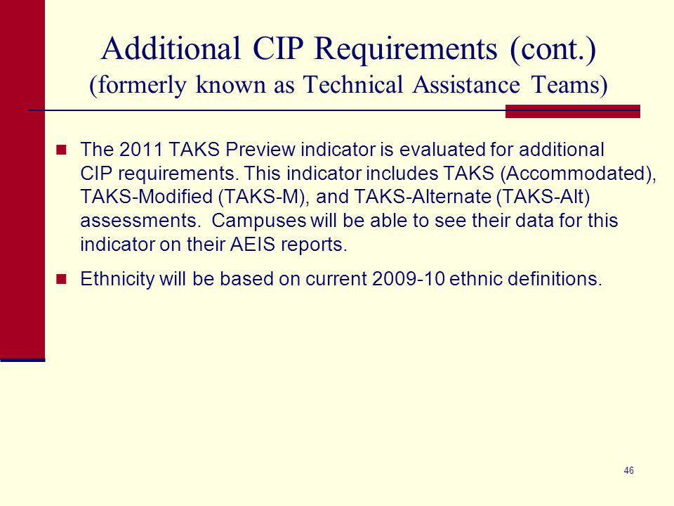 45 Additional CIP Requirements (formerly known as Technical Assistance Teams) Districts with identified campuses will be notified in early November through TEASE at the same time the AEIS reports are posted to TEASE.
