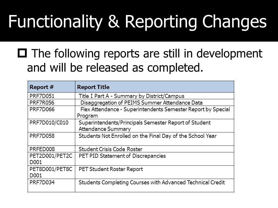 Functionality & Reporting Changes The following reports are still in development and will be released as completed.