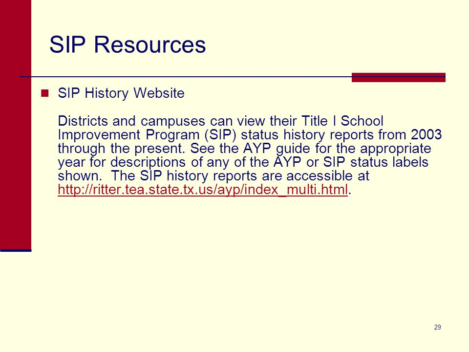 29 SIP Resources SIP History Website Districts and campuses can view their Title I School Improvement Program (SIP) status history reports from 2003 through the present.