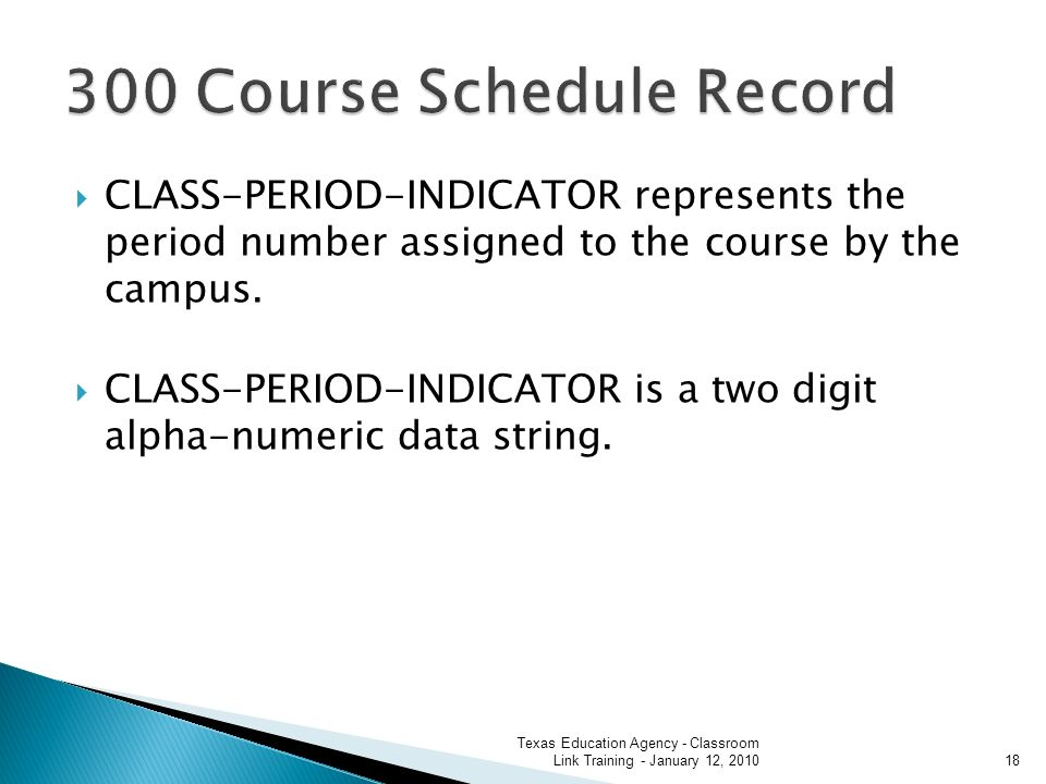 CLASS-PERIOD-INDICATOR represents the period number assigned to the course by the campus.