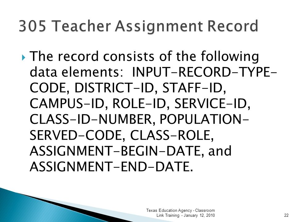 The record consists of the following data elements: INPUT-RECORD-TYPE- CODE, DISTRICT-ID, STAFF-ID, CAMPUS-ID, ROLE-ID, SERVICE-ID, CLASS-ID-NUMBER, POPULATION- SERVED-CODE, CLASS-ROLE, ASSIGNMENT-BEGIN-DATE, and ASSIGNMENT-END-DATE.