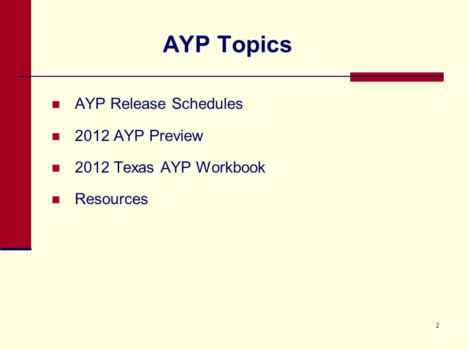 2 AYP Topics AYP Release Schedules 2012 AYP Preview 2012 Texas AYP Workbook Resources