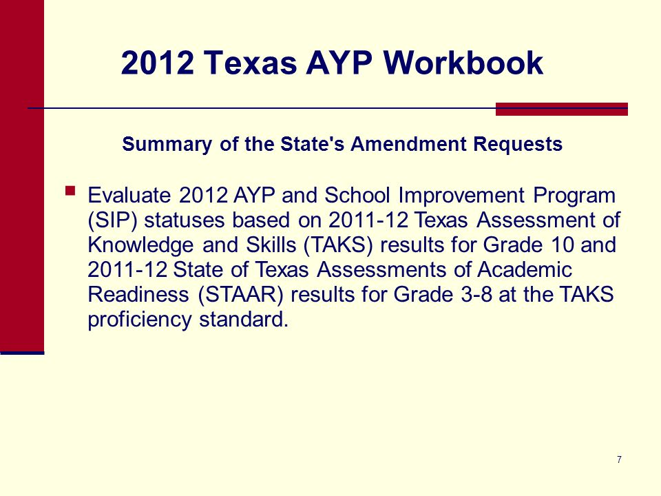 7 2012 Texas AYP Workbook Summary of the State's Amendment Requests Evaluate 2012 AYP and School Improvement Program (SIP) statuses based on 2011-12 T