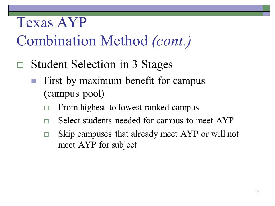 35 Texas AYP Combination Method (cont.) Student Selection in 3 Stages First by maximum benefit for campus (campus pool) From highest to lowest ranked campus Select students needed for campus to meet AYP Skip campuses that already meet AYP or will not meet AYP for subject