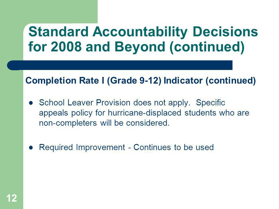 12 Standard Accountability Decisions for 2008 and Beyond (continued) School Leaver Provision does not apply. Specific appeals policy for hurricane-dis