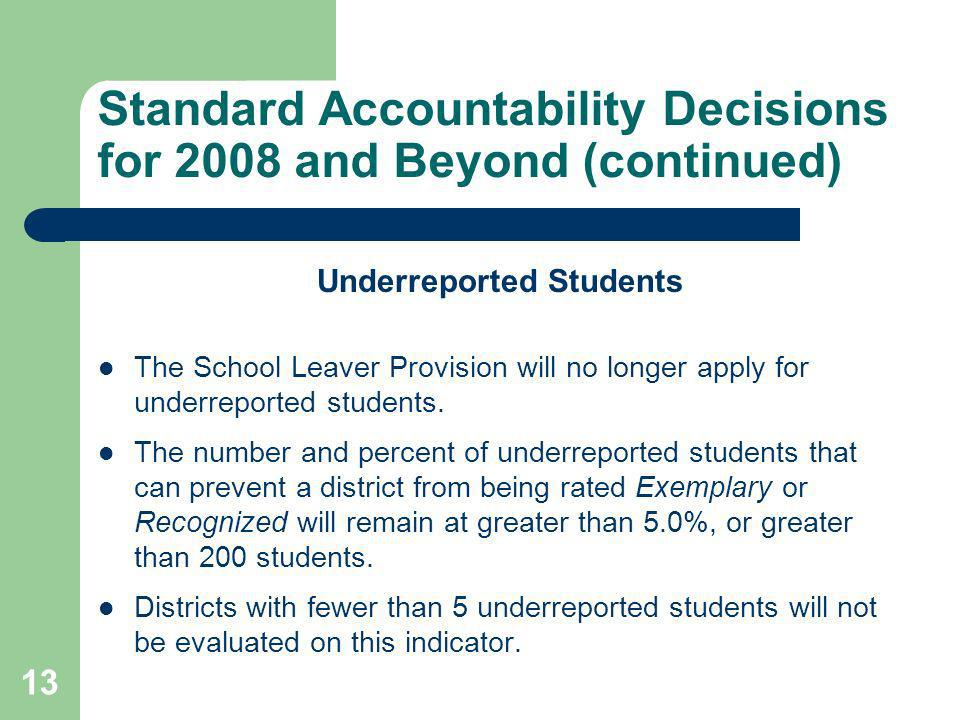 13 Standard Accountability Decisions for 2008 and Beyond (continued) Underreported Students The School Leaver Provision will no longer apply for underreported students.