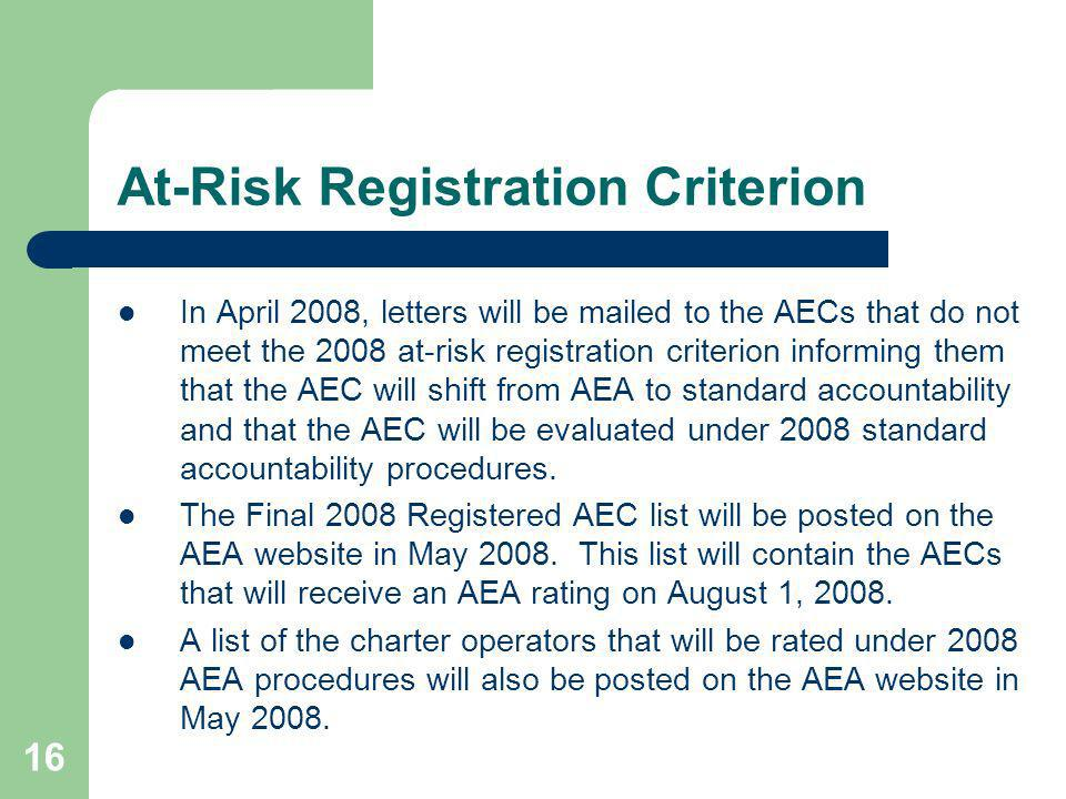 16 At-Risk Registration Criterion In April 2008, letters will be mailed to the AECs that do not meet the 2008 at-risk registration criterion informing