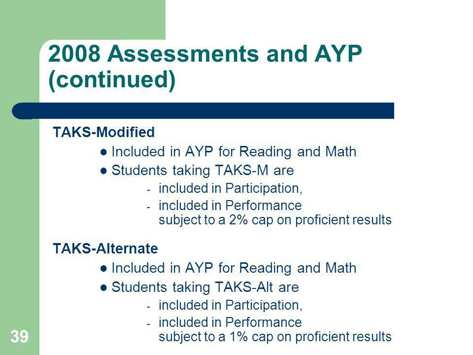 39 2008 Assessments and AYP (continued) TAKS-Modified Included in AYP for Reading and Math Students taking TAKS-M are  included in Participation,  included in Performance subject to a 2% cap on proficient results TAKS-Alternate Included in AYP for Reading and Math Students taking TAKS-Alt are  included in Participation,  included in Performance subject to a 1% cap on proficient results