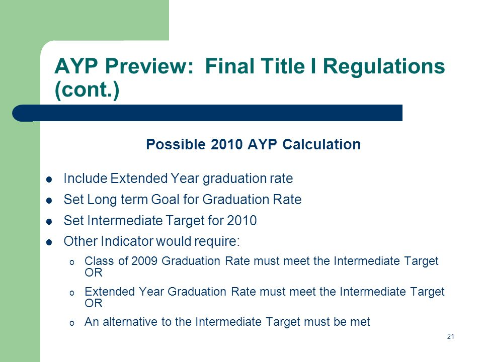 21 AYP Preview: Final Title I Regulations (cont.) Possible 2010 AYP Calculation Include Extended Year graduation rate Set Long term Goal for Graduation Rate Set Intermediate Target for 2010 Other Indicator would require: o Class of 2009 Graduation Rate must meet the Intermediate Target OR o Extended Year Graduation Rate must meet the Intermediate Target OR o An alternative to the Intermediate Target must be met
