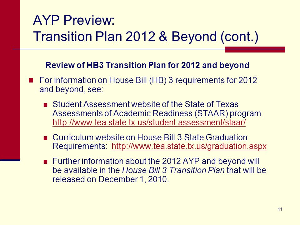 11 AYP Preview: Transition Plan 2012 & Beyond (cont.) Review of HB3 Transition Plan for 2012 and beyond For information on House Bill (HB) 3 requireme