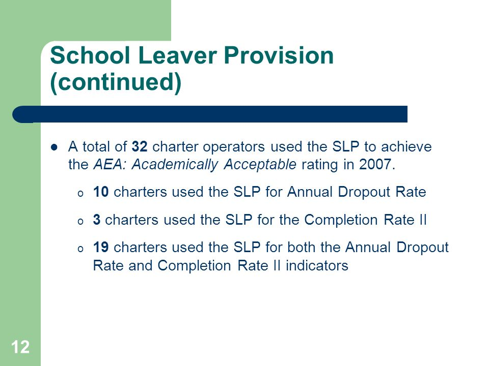 12 School Leaver Provision (continued) A total of 32 charter operators used the SLP to achieve the AEA: Academically Acceptable rating in 2007.