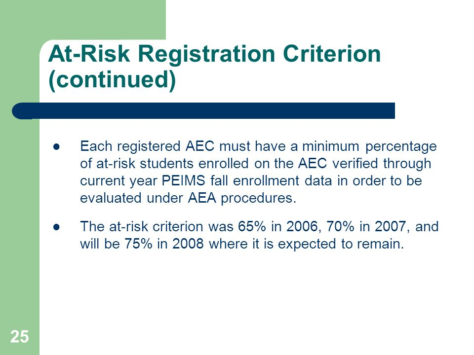 25 At-Risk Registration Criterion (continued) Each registered AEC must have a minimum percentage of at-risk students enrolled on the AEC verified thro