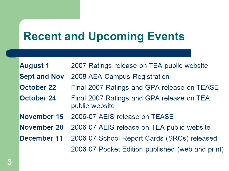 3 Recent and Upcoming Events August 12007 Ratings release on TEA public website Sept and Nov 2008 AEA Campus Registration October 22Final 2007 Ratings and GPA release on TEASE October 24Final 2007 Ratings and GPA release on TEA public website November 152006-07 AEIS release on TEASE November 282006-07 AEIS release on TEA public website December 112006-07 School Report Cards (SRCs) released 2006-07 Pocket Edition published (web and print)