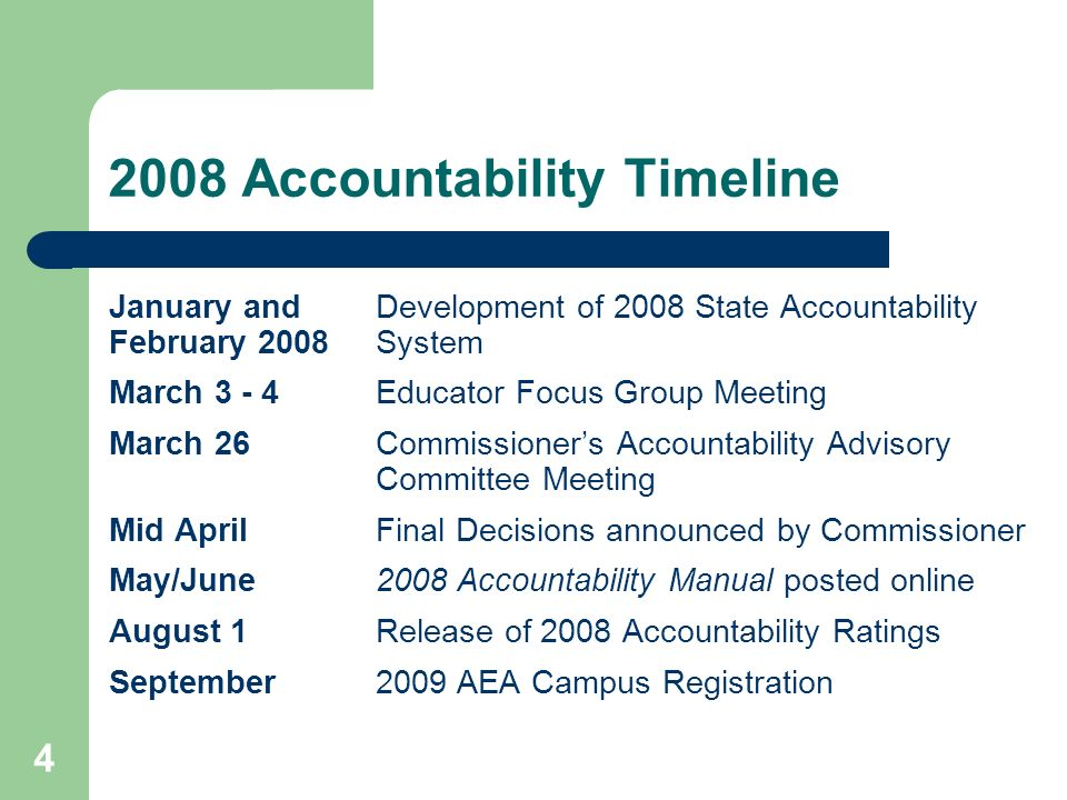 4 2008 Accountability Timeline January and Development of 2008 State Accountability February 2008 System March 3 - 4Educator Focus Group Meeting March 26Commissioners Accountability Advisory Committee Meeting Mid AprilFinal Decisions announced by Commissioner May/June2008 Accountability Manual posted online August 1Release of 2008 Accountability Ratings September2009 AEA Campus Registration