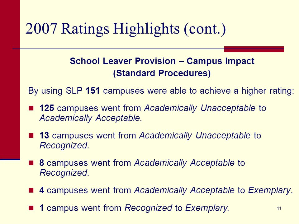 10 2007 Ratings Highlights (cont.) School Leaver Provision – Campus Impact (Standard Procedures) 90 campuses used the School Leaver Provision for Dropout Rate only.