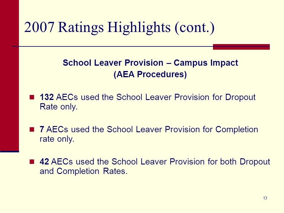 12 2007 Ratings Highlights (cont.) School Leaver Provision – Charter District Impact (AEA Procedures) 10 charters used the School Leaver Provision for Dropout Rate only.
