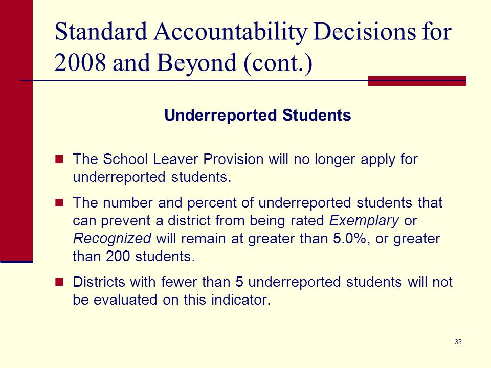 32 Standard Accountability Decisions for 2008 and Beyond (cont.) School Leaver Provision does not apply.