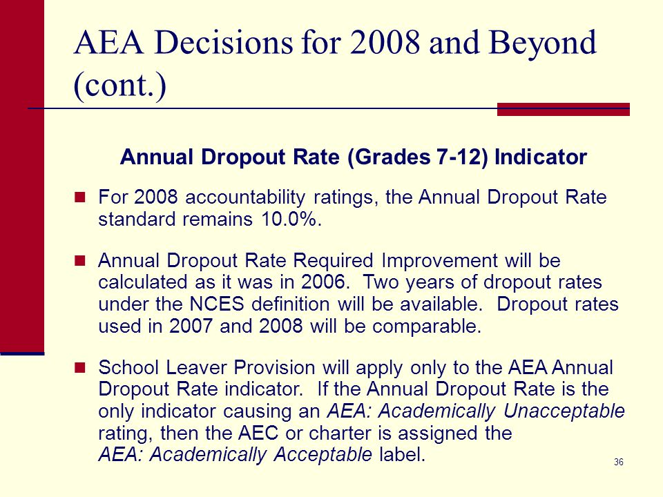 35 AEA Decisions for 2008 and Beyond TAKS Progress Indicator The TAKS Progress Indicator will include grade 8 science in 2008 and will phase in TAKS (Accommodated) results until all results are included in 2010.
