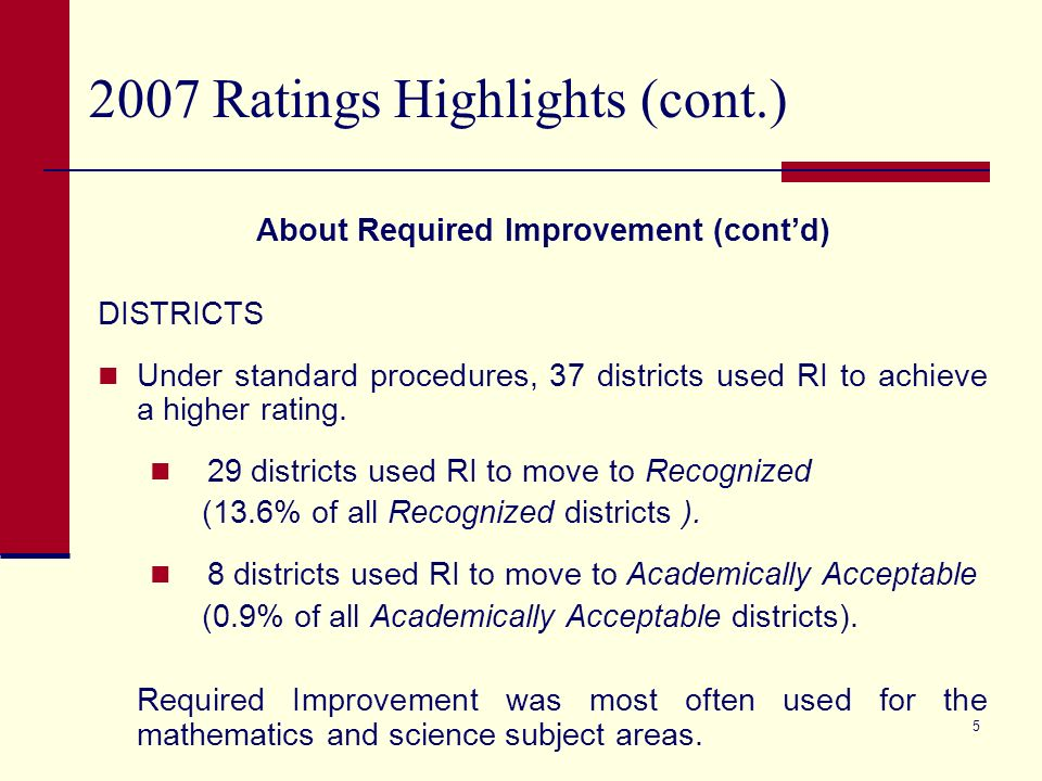 4 2007 Ratings Highlights (cont.) About Required Improvement CAMPUSES Under standard procedures, 359 campuses used RI to achieve a higher rating.