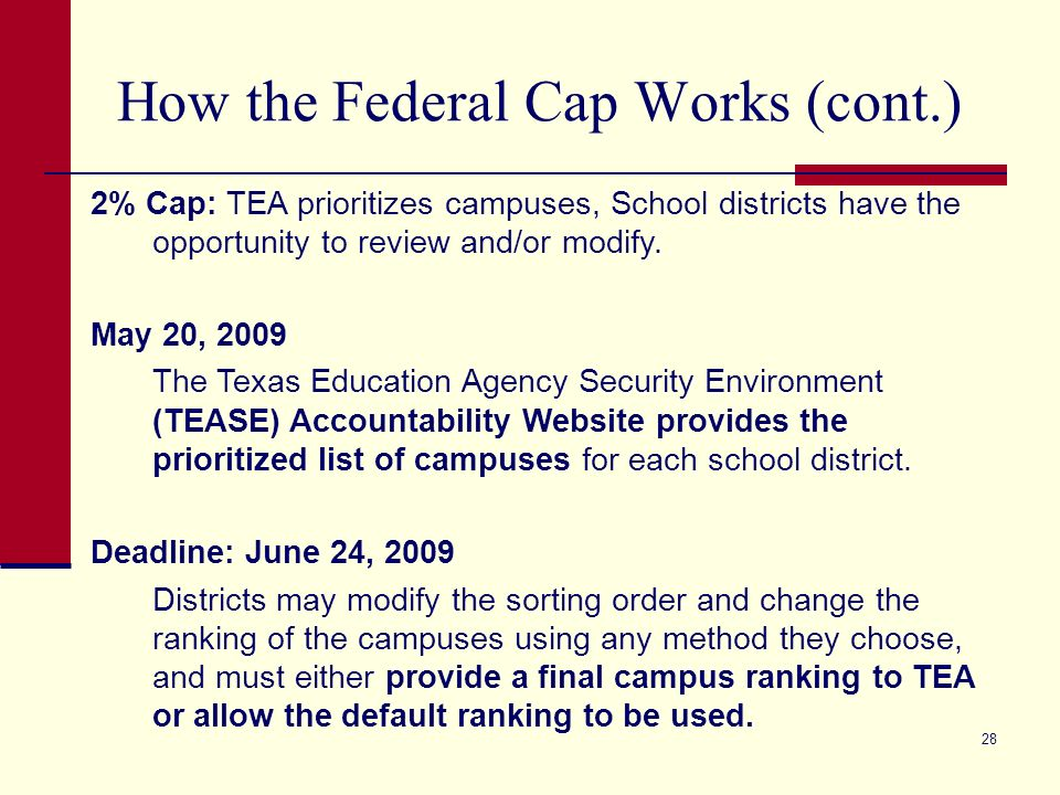 28 How the Federal Cap Works (cont.) 2% Cap: TEA prioritizes campuses, School districts have the opportunity to review and/or modify. May 20, 2009 The