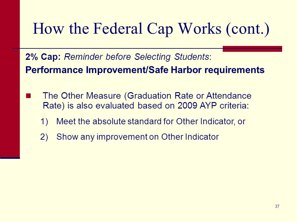 37 How the Federal Cap Works (cont.) 2% Cap: Reminder before Selecting Students: Performance Improvement/Safe Harbor requirements The Other Measure (G
